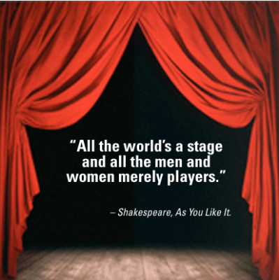 Shakespeare-citaat: 'All the world is a stage. And all the men and women merely players'
