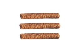 Drie frikandellen onder elkaar, als een hamburgermenu-icoontje
